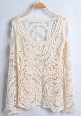 Cute Lace Embroidery Lace Smock Trumpet Long Sleeve Shirt Top Blouse