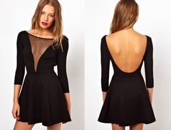 V-Neck Long Sleeve Gauze Backless Mini Dress