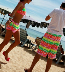 Male And Female Couple Beach Multicolor Shorts Bikini Set Swimsuit Swimwear