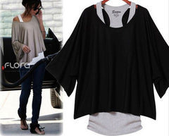 Bat Sleeve Solid Color Loose T-Shirt Top Blouse