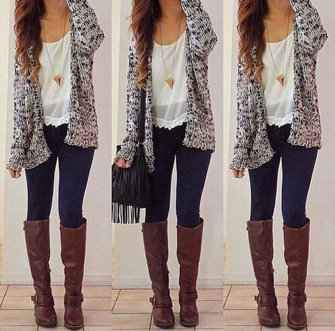 Casual Solid Color Cardigan Sweater Winter Coat