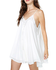 White Lace Stitching Straps Off Shoulder Dress