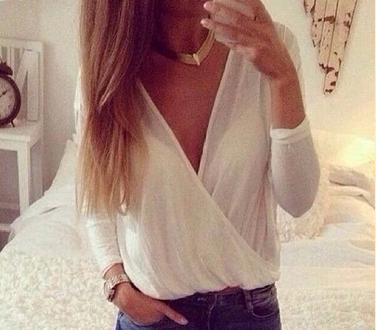 Fashion V-neck Loose Long Sleeve Tunic Shirt Top Blouse
