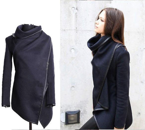 Woolen Black Irregular Long Sleeve Thick Jacket