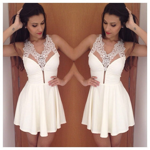 Sexy White Lace Hollow Sequin Halter Mini Dress