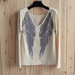 Fashion Loose V-Neck Wings Print Tunic Shirt Top Blouse