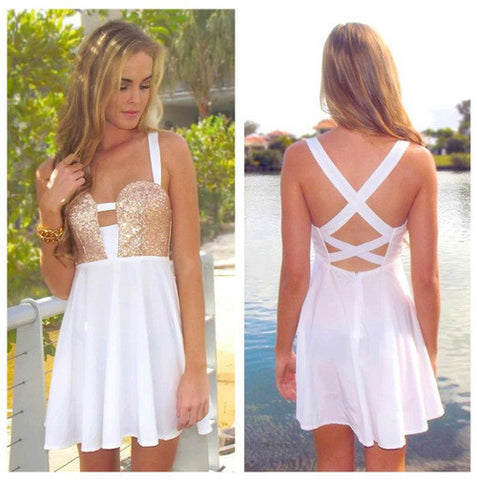 Sexy Hollow Out White Sleeveless Backless Dress