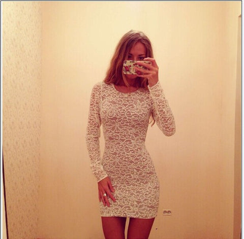 Fashion Sexy Lace Long Sleeves Bodycon Mini Dress