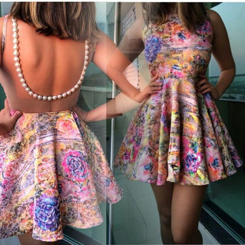 Sexy Flower Printing Backless Dress