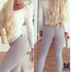 Fashion Lady Solid Color Stretch Pants Trousers Jeans