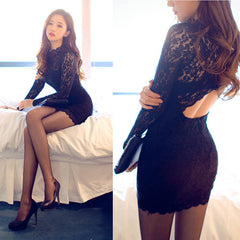 Sexy Backless Lace Bodycon Embroidery Mini Dress