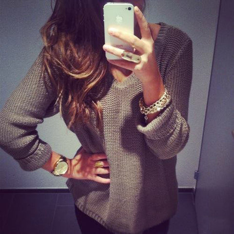 Sexy Retro Beige Top Blouse Sweater