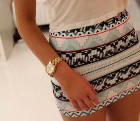 Tight Striped Geometric Multicolor Skirt