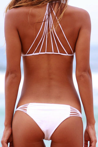 Sexy Solid Color Hollow Split Beach Stretch Bikini Set Swimsuit Swimwear