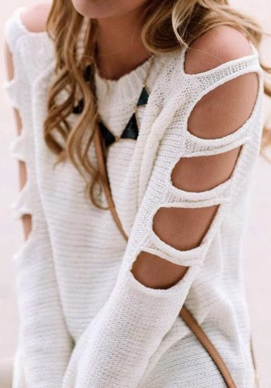 Hole Hollow Solid Color Off Shoulder Top Sweater Knitwear