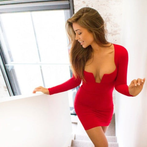 Sexy Long-Sleeved Chest Package Hip Mini Dress