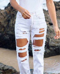 Fashion Hole Ripped Loose Distressed Pants Trousers Jeans