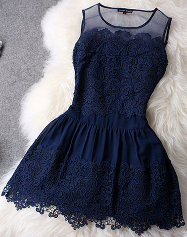 Retro Embroidery Beads Lace Crochet Mini Dress