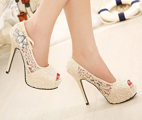 Diamond Lace Fashion High Heels