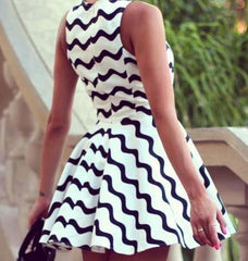irregular stripe sleeveless dress BA721EA