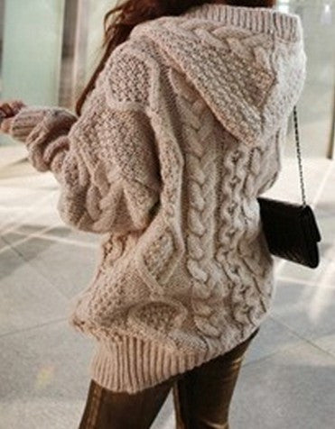 Loose Knit Cardigan Sweater Knitwear Hoodie Jacket