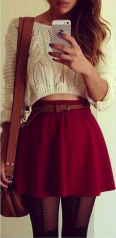 Knitting Sweater And Pure Color Skirts