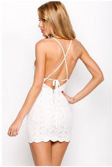 Cross Straps Lace Backless Bodycon Dress
