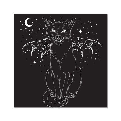Black Bat Wing Witches Cat Hissing Night Sky Fine Art Print