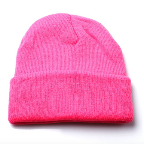 Neon Hot Pink Slouch Beanie Hat