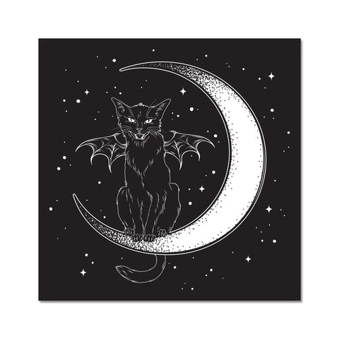 Black Witches Cat Night Sky Crescent Moon Fine Art Print