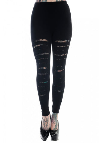 Banned Apparel Slashed Black Skinny Gothic Womens Leggings