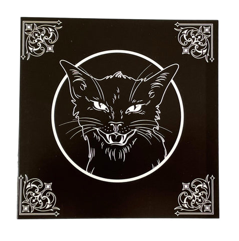"Witches Black Cat Hissing Greetings Card 6""x6"""