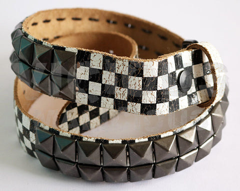 Bullet 69 Distressed Black and White Checked Gun Metal Pyramid Studded Leather B