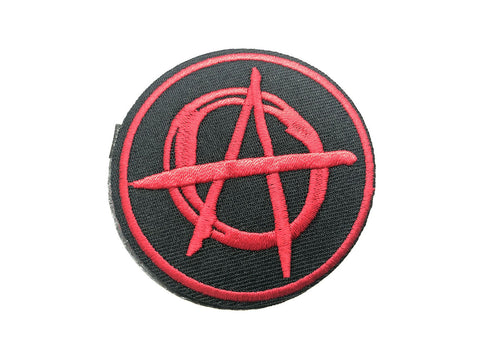 Anarchy Anarchist Red A Symbol Logo Embroidered Fabric Iron on Patch