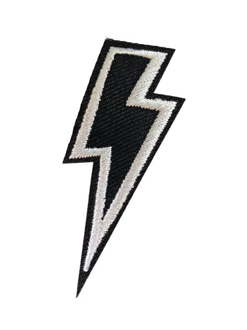 Lightning Bolt Black & White Fabric Iron On Embroidered Patch Badge