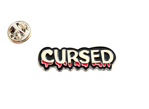 Cursed Blood Silver Chrome & Black Enamel Pin Badge