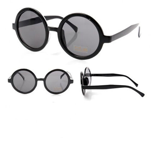 Black Round Lens Hipster Geek Chic Sunglasses