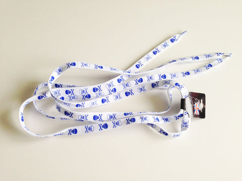 White Shoelaces With Blue Skull Print Design Flat Shoe laces