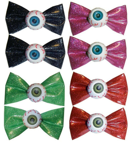 Kreepsville 666 Glitter Eyeball Hair Bow Hair Slides Pair Goth Emo Horror