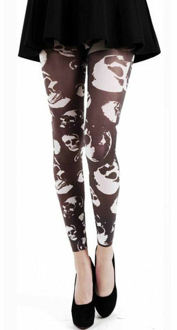 Pamela Mann Black Buried Alive Skull Skeleton Printed Footless Leggings Womens 8