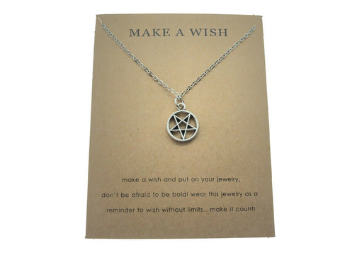 Pentagram Mini Wish Charm Silver Pendant Gothic Necklace Witch