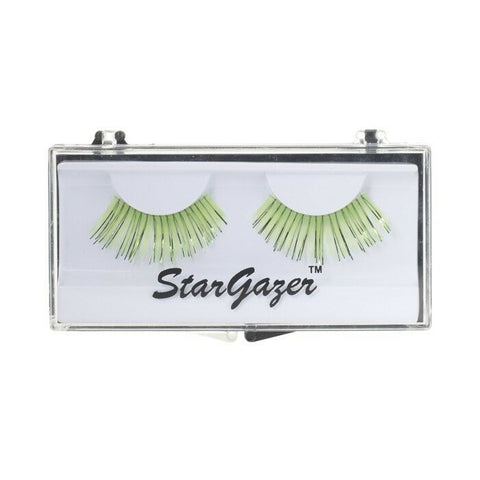 Stargazer False Eye Lashes #7 Bright Green Including Adhesive Faux Eyelashes