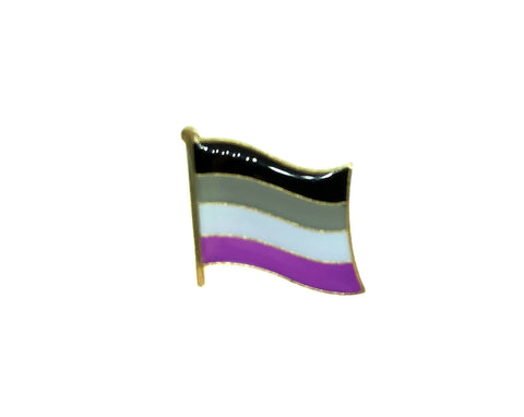 Asexual LGBTQ Pride Flag Enamel Gold Pin Badge