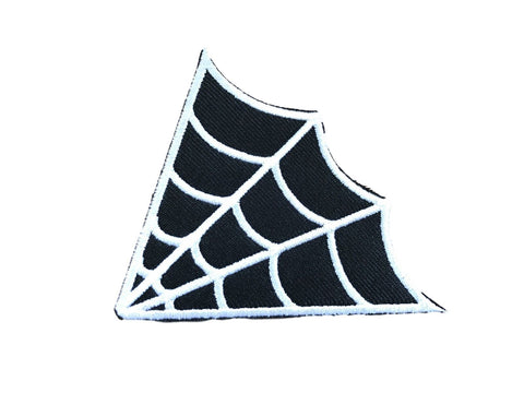 Spiders Web Black and White Goth Fabric Iron On Patch