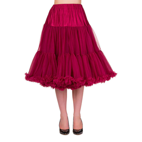 "Banned Apparel Lifeforms Petticoat Bordeaux Red 26"" Length Womens Lined Elastica"