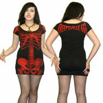 Kreepsville 666 Red Skeleton Tunic Dress Womens