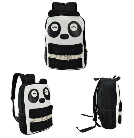 White Faux PU Leather Kawaii Panda Face Backpack Bag With Lace Pocket Trim