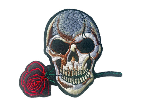 Skull & Red Rose Teeth Skeleton Iron On Fabric Patches Sew