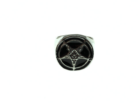 Baphomet Satanic Pentagram Devil Goat Black and Silver Ring