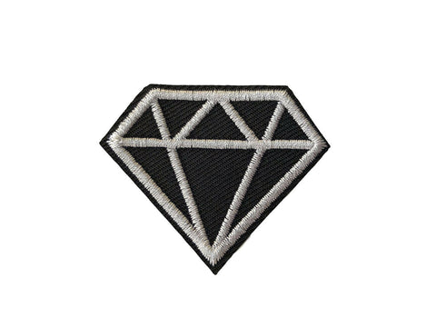 Diamond Fabric Iron On Patch Embroidered Black & White